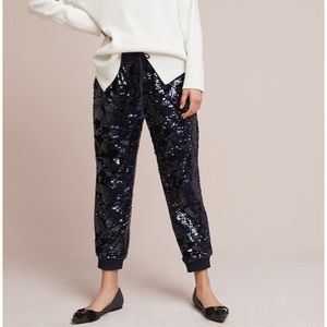 Anthropologie Navy Blue Sequin Jogger Pants NWT